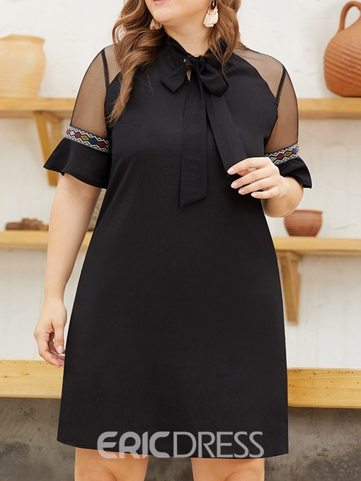 Ericdress Plus Size Short Sleeve Bowknot Above Knee Mid Waist Pullover Dress