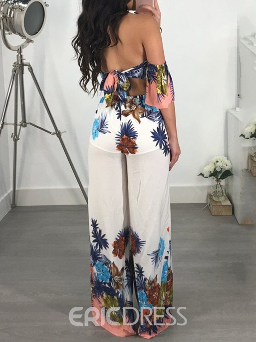 Ericdress Lace-Up Floral Print African Style Loose Jumpsuit
