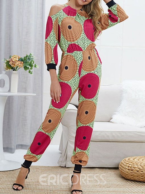 Ericdress Print Geometric Color Block Slim Jumpsuit