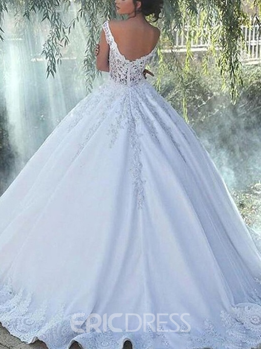 Ericdress Appliques Spaghetti Straps Church Wedding Dress