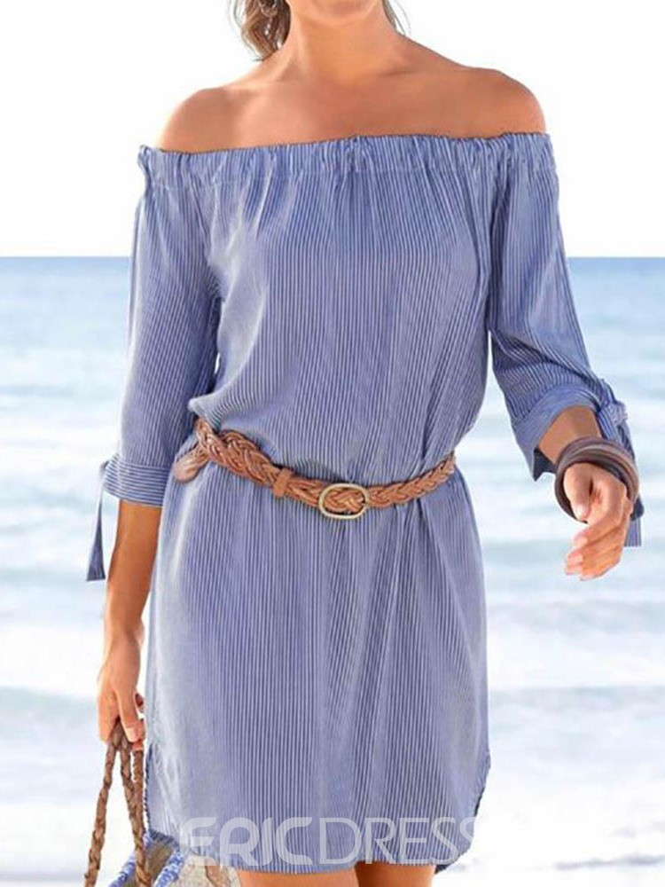 Ericdress Three-Quarter Sleeve Off Shoulder Above Knee A-Line Dress