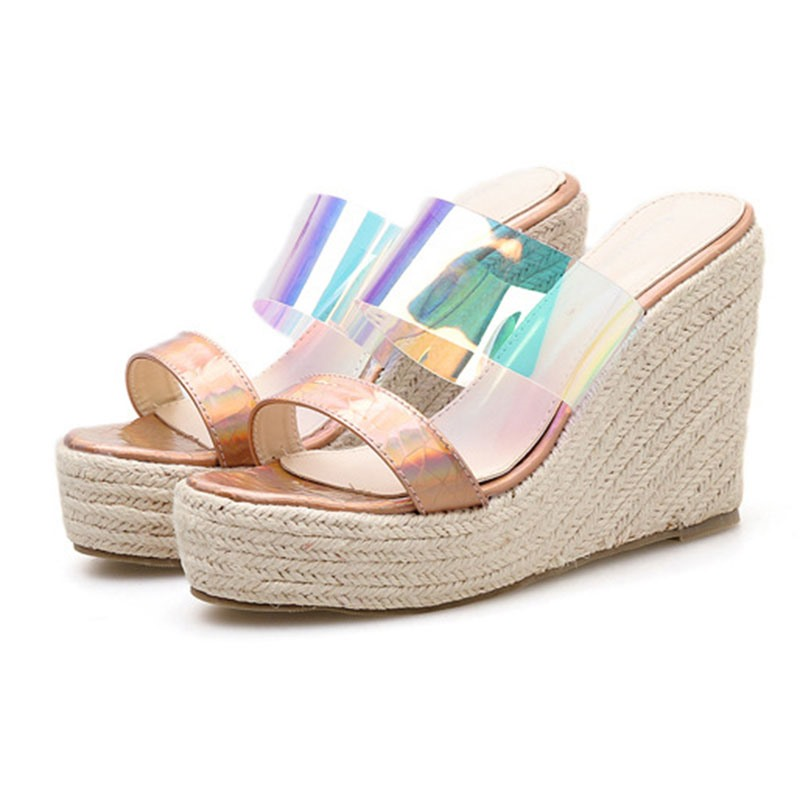 Ericdress PVC Flip Flop Platform Wedge Heel Women's Sandals