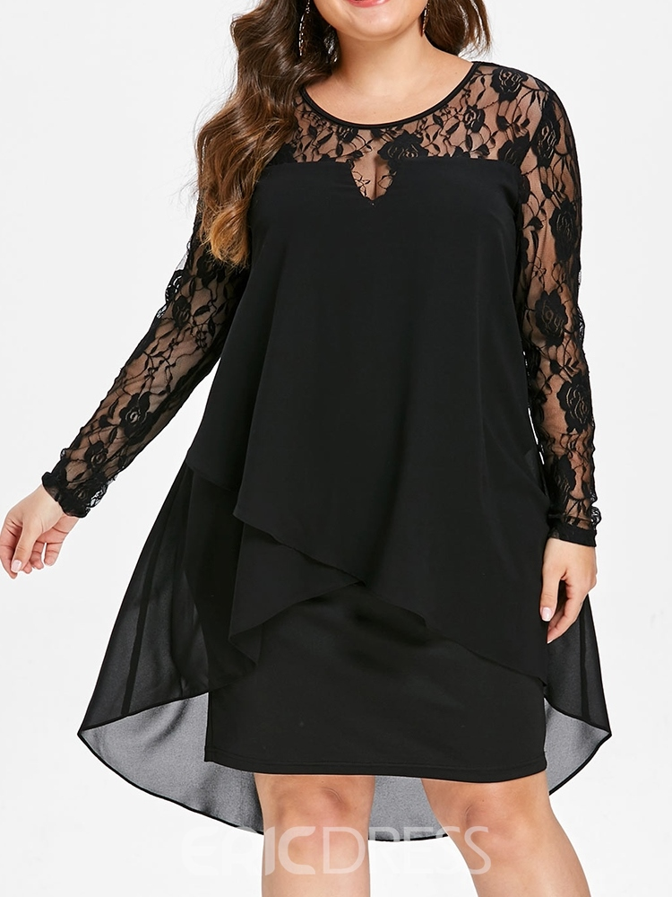 Ericdress Plus Size Round Neck Lace Asymmetric Knee-Length Dress ...