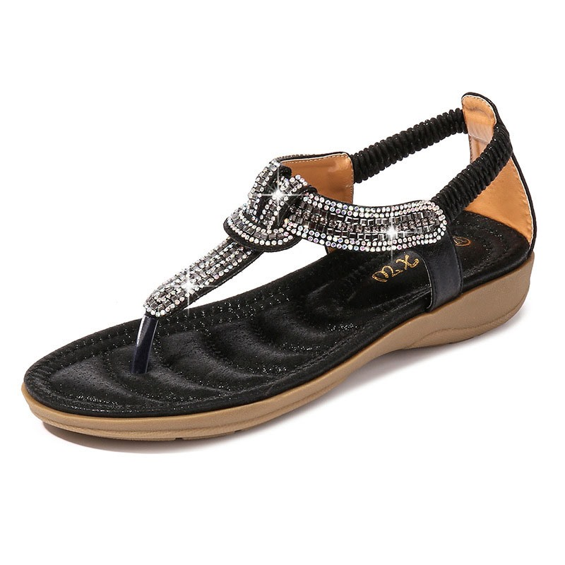 Ericdress Rhinestone Thong Slip-On Heel Covering Women's Sandals