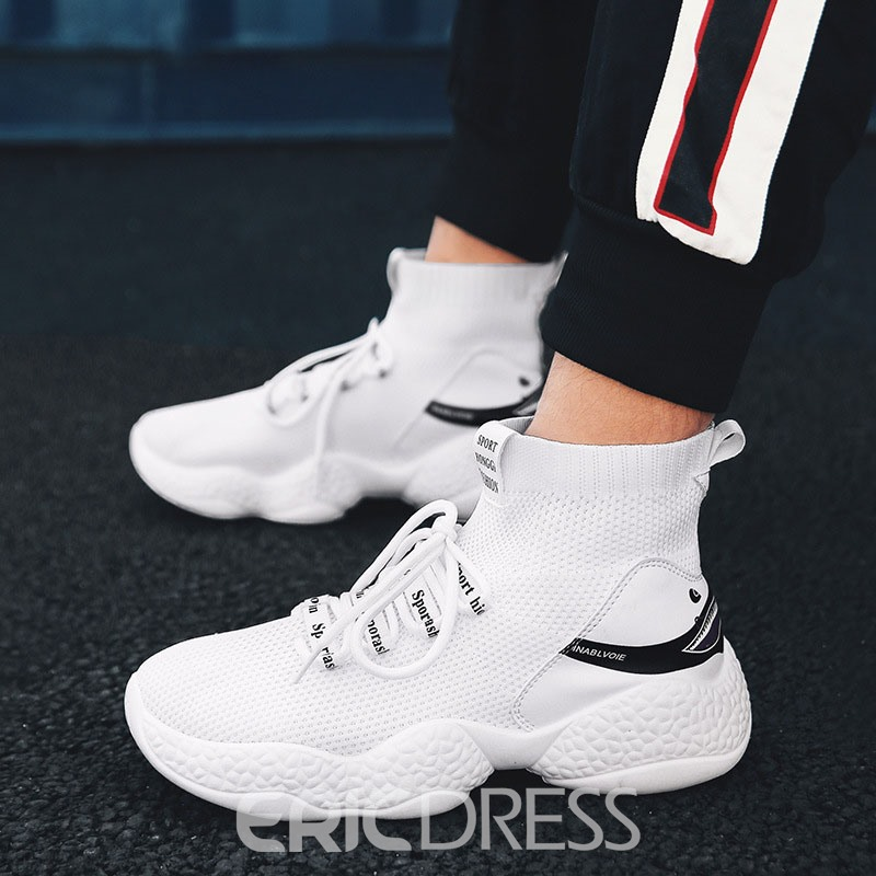 Ericdress Mesh Lace-Up Round Toe High-Cut Upper Men's Sneakers