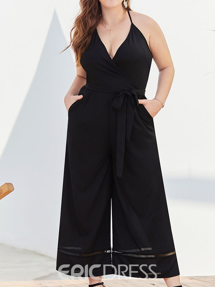Ericdress Plus Size Strap Plain Wide Legs Loose Jumpsuit