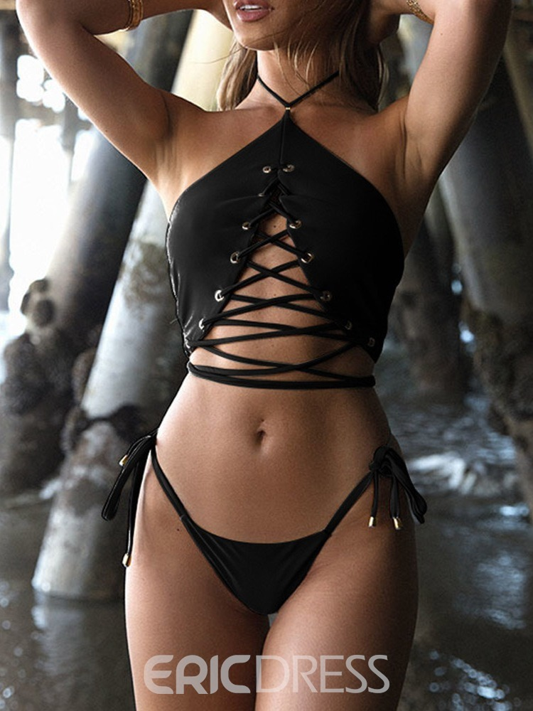 Ericdress Lace-Up Sexy Plaint Swimsuit