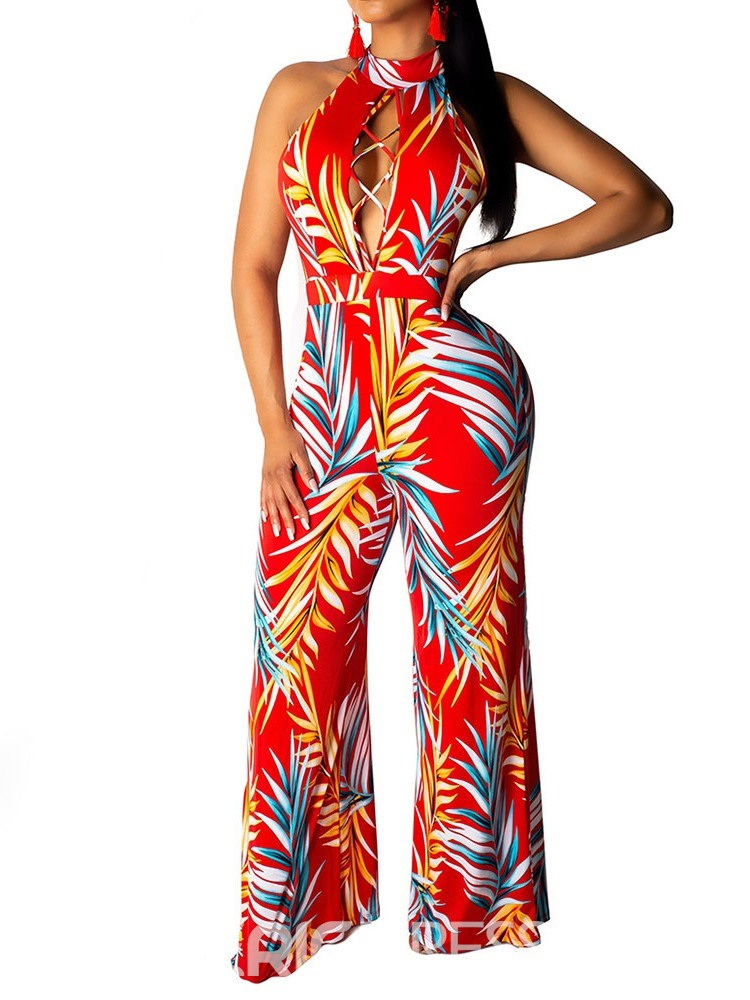 Ericdress Button Plant Sexy Print Slim Jumpsuit
