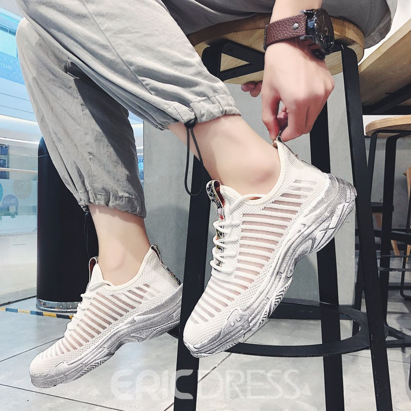 Ericdress Mesh Lace-Up Color Block Men's Chic Sneakers