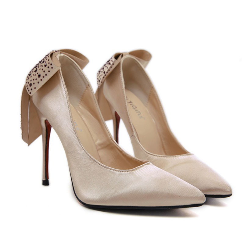 Ericdress Bow Rhinestone Stiletto Heel Pointed Toe Women's Pumps