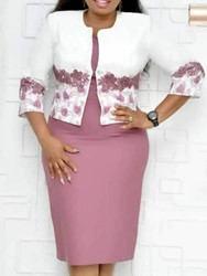 Ericdress Print Floral Office Lady Coat And Dress Two Piece Sets thumbnail