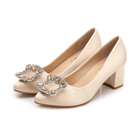 Women's Cloth Chunky Heel Round Toe Beads Wedding Shoes