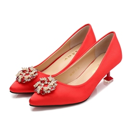 Women's Pointed Toe Rivet PU Stiletto Heel Wedding Shoes