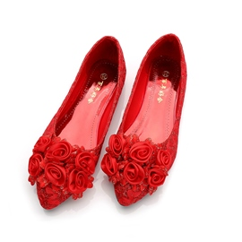 Women's Thin Shoes Flat Heel Flowers Lace Wedding Shoes