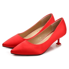 Women's Cloth Pointed Toe Block Heel Mid-Heel Wedding Shoes