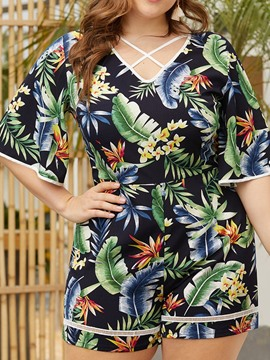 Ericdress Print Plus Size Plant Loose Straight Jumpsuit
