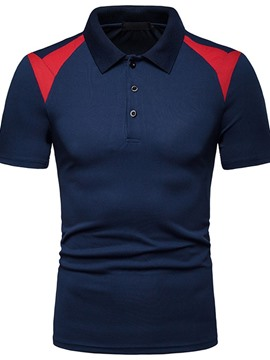 Ericdress Color Block Casual Mens Polo Shirt