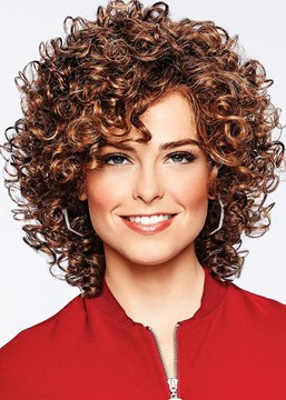 Women's Medium Length HairStyle Wigs Curly Synthetic Hair Lace Front Cap Wigs 18inch