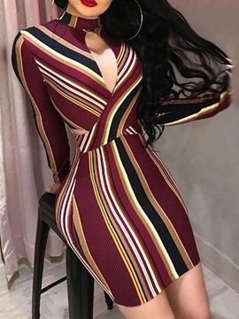 Ericdress Stand Collar Above Knee Pullover Print Bodycon Dress