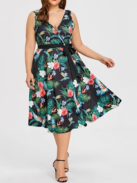 Ericdress Sleeveless V-Neck Print Floral Sweet Print Dress