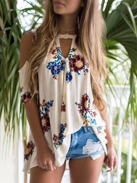 Ericdress Floral Print Sweet Short Sleeve Blouse