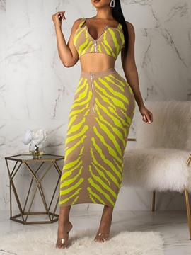 616c308c83a Ericdress Color Block Bodycon Zipper Print Vest And Skirt Two Piece Sets