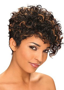Women's Short Pixie Cut Curly HairStyle Wigs Synthetic Hair Lace Front Cap Wigs 12inch
