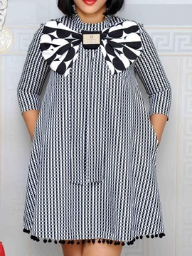 Ericdress Stripe Stand Collar Bowknot A-Line Ladylike Dress