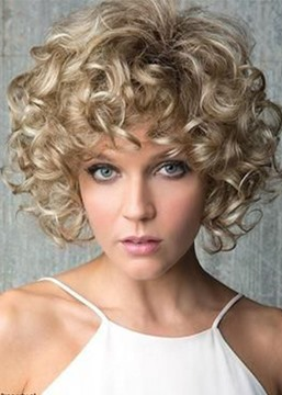 Ericdress Light Brown Color Afro Curly Hair Lace Front Cap Synthetic Hair Wigs 16inch