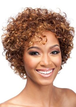 Women's Short Length Afro Curly Synthetic Hair Wigs Capless Wigs 14inch
