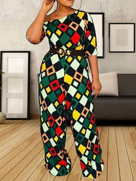 Ericdress Color Block African Style Geometric Slim Jumpsuit
