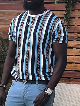 Ericdress Round Neck Print Stripe Mens Loose T-shirt