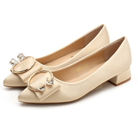 Chunky Heel Pointed Toe Low Heel Wedding Shoes
