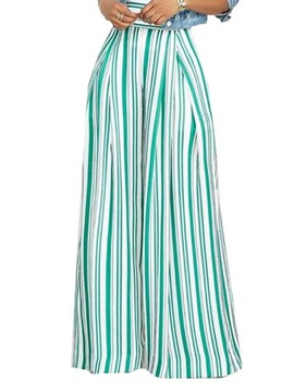 Ericdress Stripe Loose Full Length Casual Pants