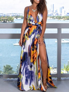 Ericdress Expansion V-Neck Floor-Length Sleeveless Split Summer Dress
