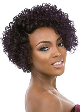 Women's Side Part Short Length Kinky Curly Synthetic Hair Capless Wigs 14inch