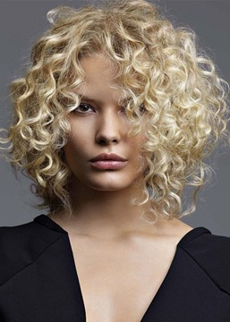 Ericdress Mid Part Light Brown Lace Front Cap Afro Curly Synthetic Hair Wigs 16inch
