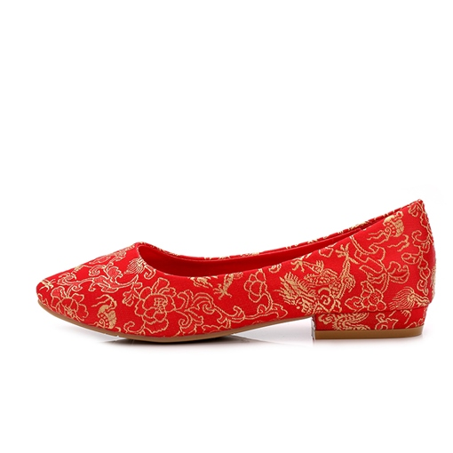 Women's Flat With Embroidery Cloth Thin Shoes Weding Shoes