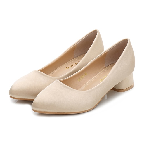 Women's Thin Shoes Cloth Chunky Heel Pointed Toe Wedding Shoes