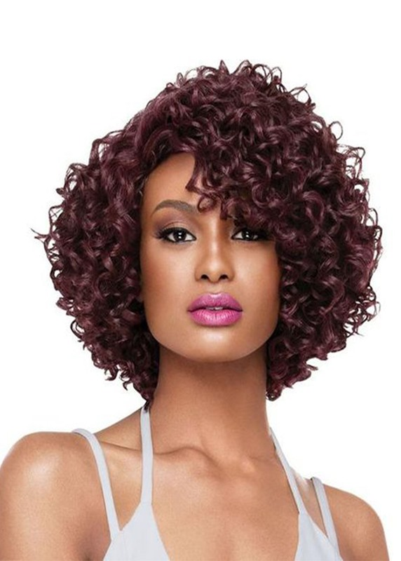 #wigs,Sexy Womens Mid Length Hairstyle Curly Synthetic Hair Wigs Capless Wigs 16Inch