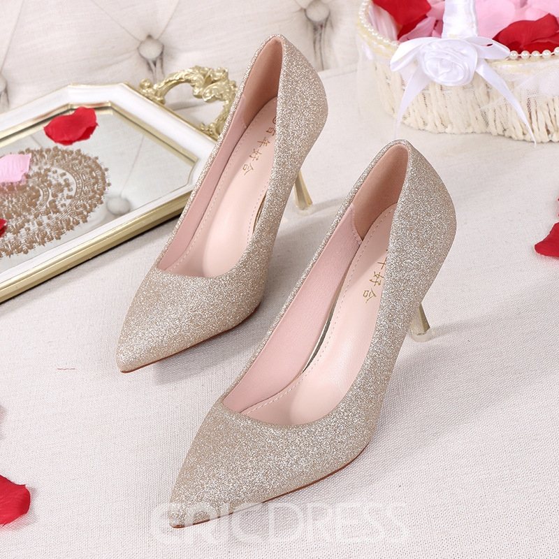 Women's Thin Shoes Pointed Toe PU Sequin Wedding Shoes
