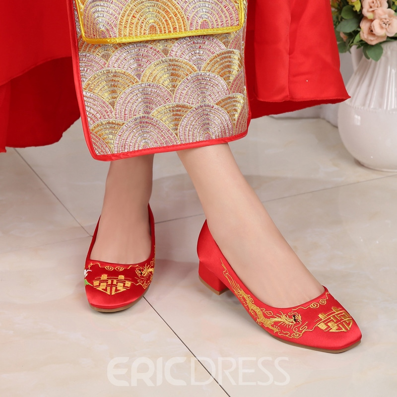Low Heel Embroidery Block Heel Thin Shoes Wedding Shoes