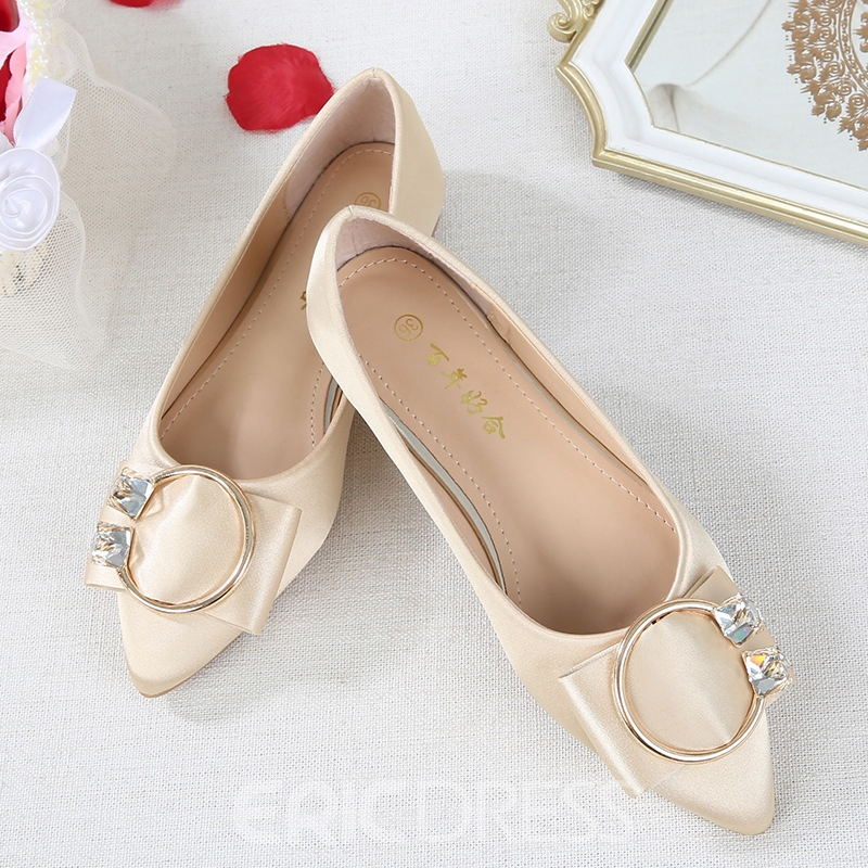 Ericdress Women's Rhinestone Flat With Low Heel Pointed Toe Wedding Shoes