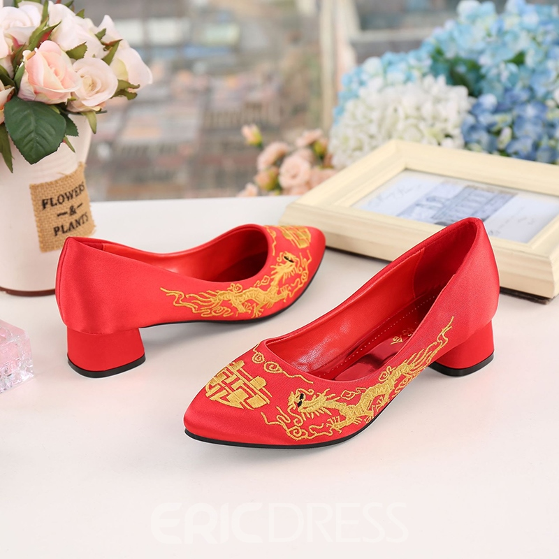 Women's Round Toe Embroidery Cloth Thin Shoes Wedding Shoes
