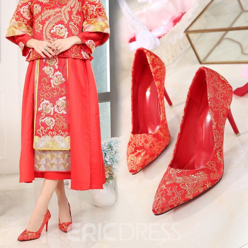 Women's Embroidery Thin Shoes Ultra-High Heel Stiletto Heel Wedding Shoes