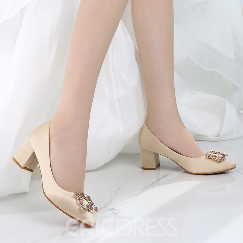 Ericdress Women's High Heel Pointed Toe Buckle Thin Shoes Wedding Shoes