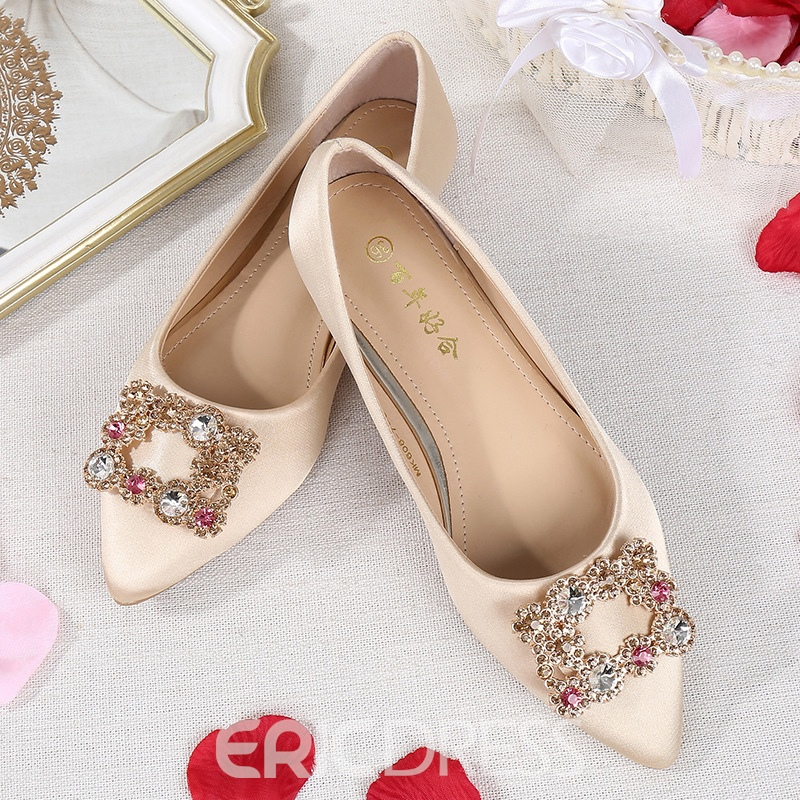 Ericdress Women's Beads Cloth Flat With Thin Shoes Wedding Shoes