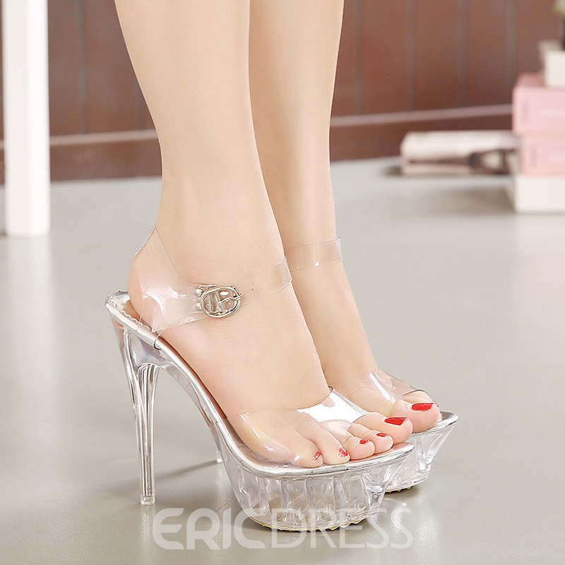 Ericdress Women's PU Sandals Open Toe Stiletto Heel Wedding Shoes