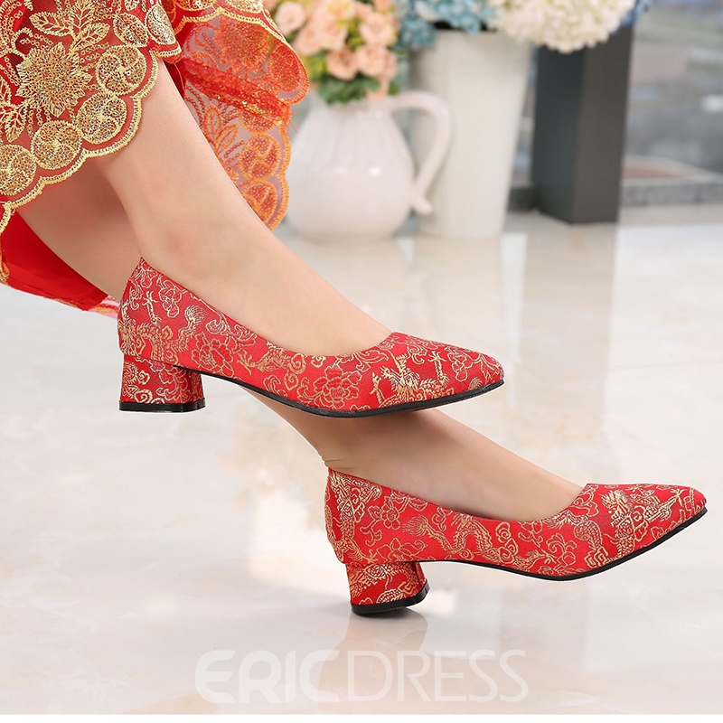 Women's Embroidery Thin Shoes Cloth Mid-Heel Wedding Shoes