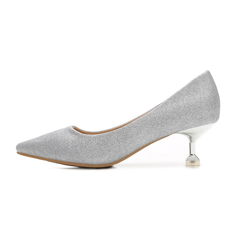 Women's Stiletto Heel Mid-Heel Thin Shoes Pointed Toe Wedding Shoes